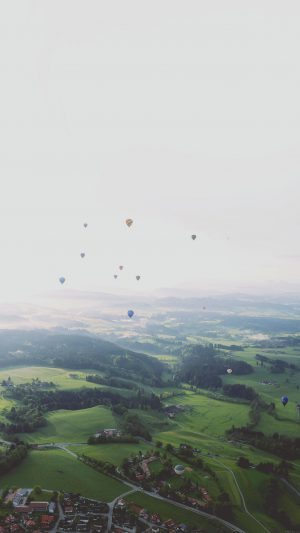 Balloon Party From Air Wide Mountain Nature iPhone 7 wallpaper