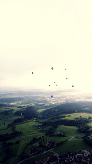 Balloon Party Green Blue Wide Mountain Nature iPhone 7 wallpaper