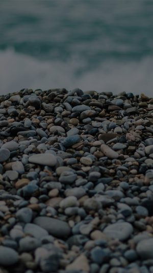 Beach Stones Sea Nature Dark iPhone 7 wallpaper