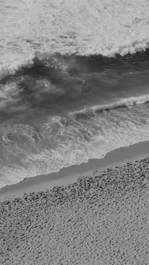 Beach Wave Coast Nature Sea Water Summer Bw Dark iPhone 7 wallpaper