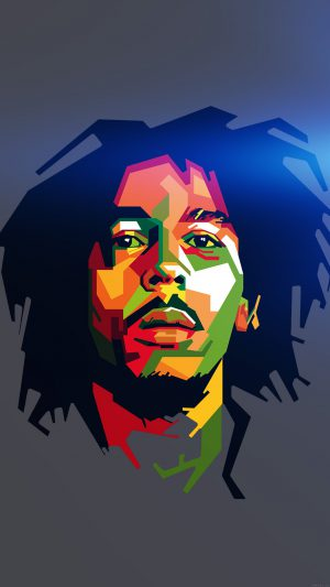 Bob Marley Blue Art Illust Music Reggae Celebrity iPhone 7 wallpaper