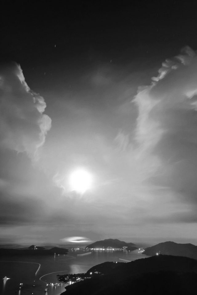 British Night Sunset Lake Sea Mountain Nature Bw Dark iPhone wallpaper