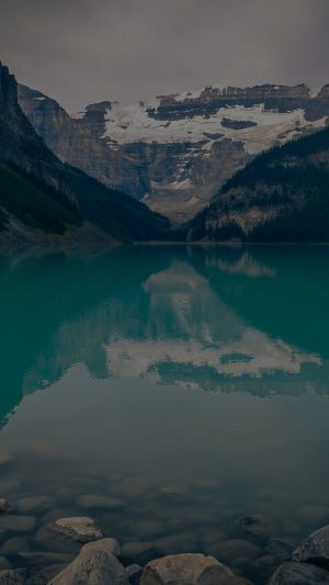 Canada Lake Dark Louise Green Water Nature iPhone 7 wallpaper