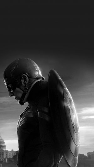 Captain America Sad Hero Film Marvel Dark Bw iPhone 7 wallpaper