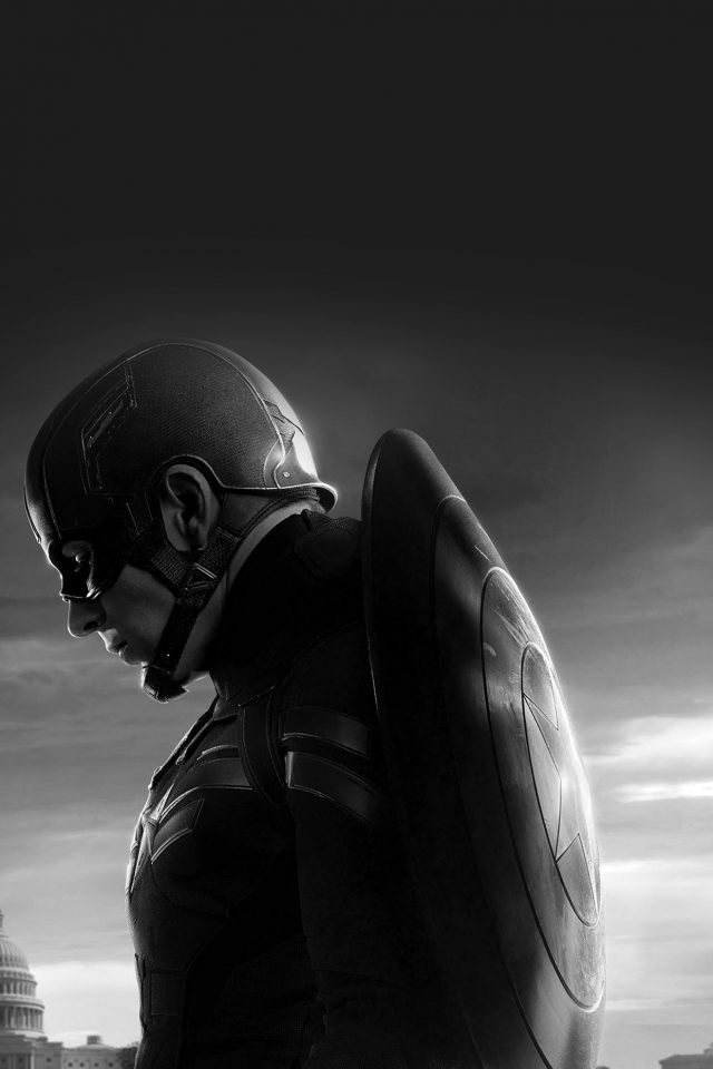 Captain America Sad Hero Film Marvel Dark Bw iPhone wallpaper