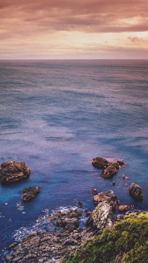 Cliff Sea Ocean Rock Nature Blue iPhone 7 wallpaper