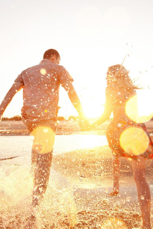 Couple Love Beach Happy Marry Me Nature iPhone wallpaper