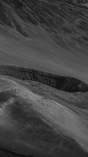 Crater Mountain Dark Bw Nature iPhone 7 wallpaper