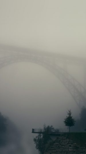 Foggy Bridge Herr Olsenmungsten Tree Nature iPhone 7 wallpaper