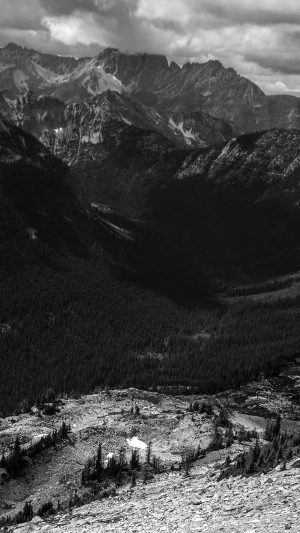 Great Mountain View Dark Bw Nature iPhone 7 wallpaper