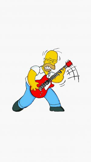 Homer Simpson Music White Illustration Art iPhone 7 wallpaper