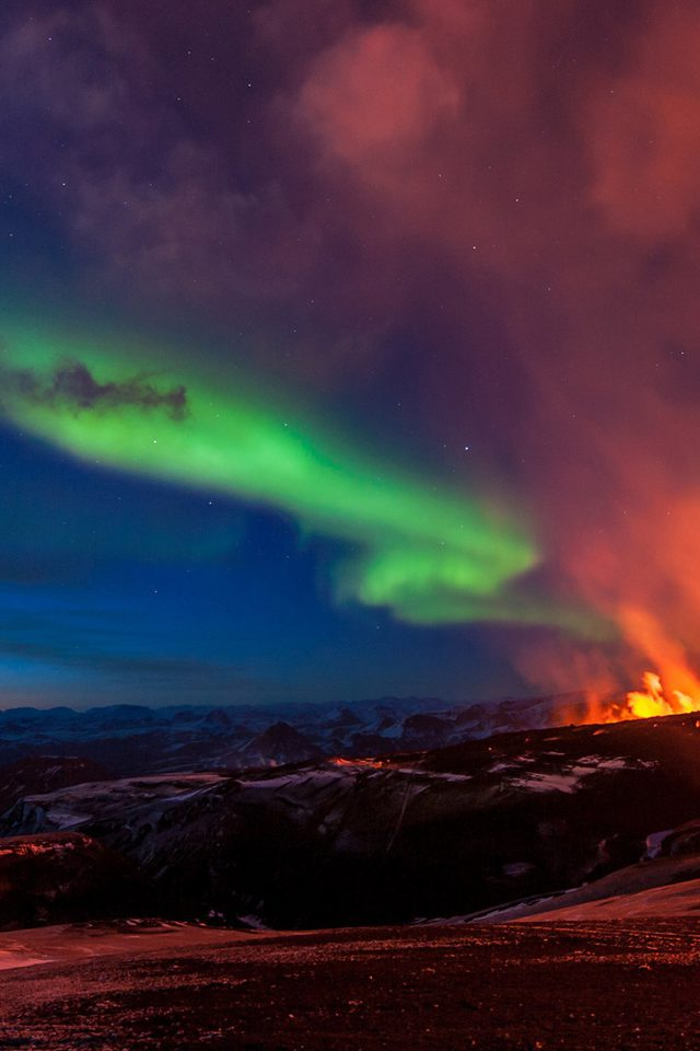 Iceland Mountain Fire Nature iPhone wallpaper
