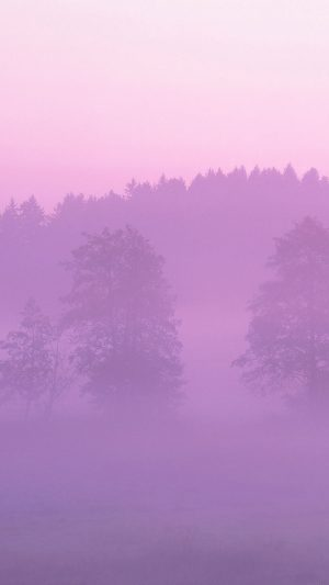 Misty Pink Forest Mountain Nature iPhone 7 wallpaper