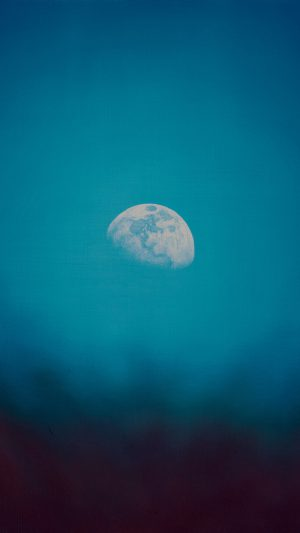 Moon Rise Day Nature Blue Dark Night Green iPhone 7 wallpaper
