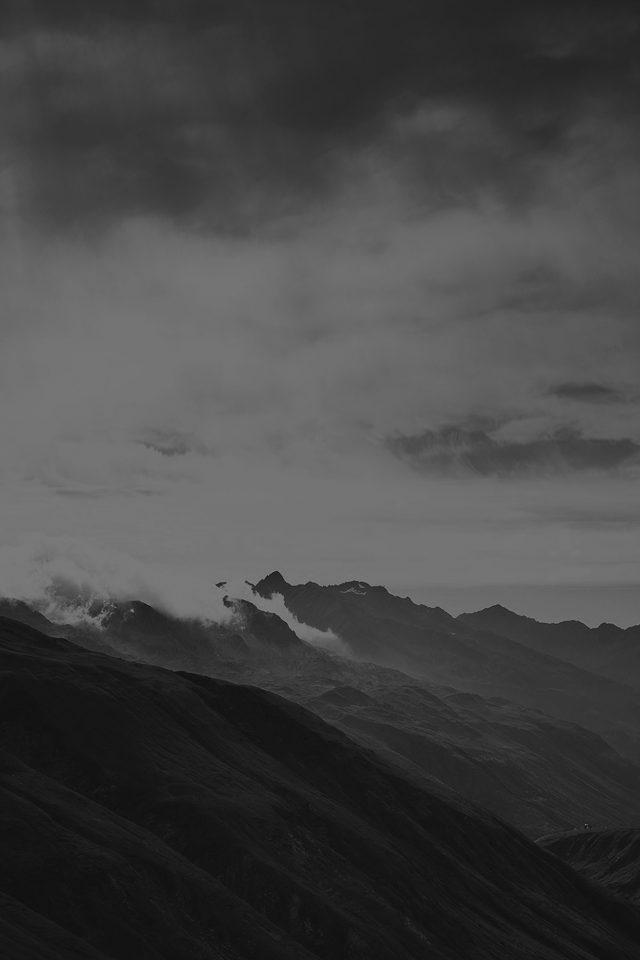 Mountain Art Fog Nature Dark Bw Iphone 7 Wallpaper