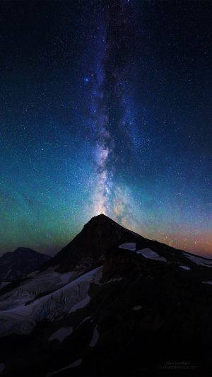 Mountain Aurora Sky Night Star Nature Milky Way iPhone 7 wallpaper