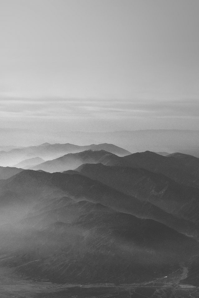 Mountain Fog Nature Dark Bw Gray Sky View iPhone wallpaper