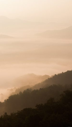 Mountain Fog Yellow Nature iPhone 7 wallpaper