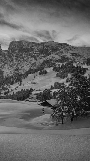 Mountain Green Snow Winter Nature Ski Dark Bw iPhone 7 wallpaper