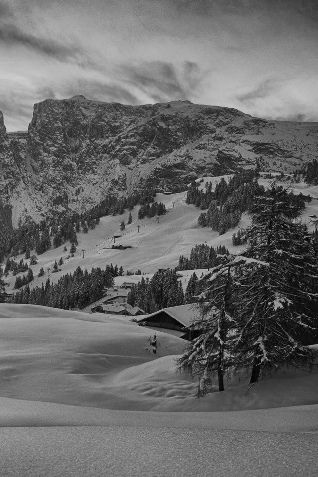 Mountain Green Snow Winter Nature Ski Dark Bw iPhone wallpaper