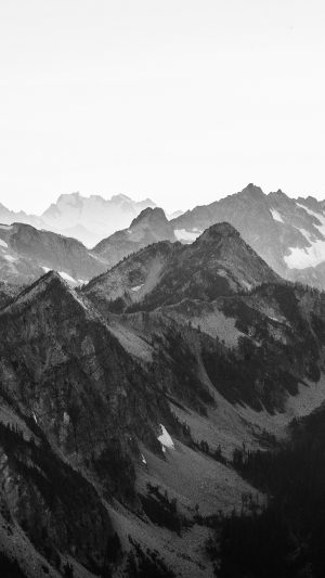 Mountain Layer View Nature Top Bw Dark iPhone 7 wallpaper