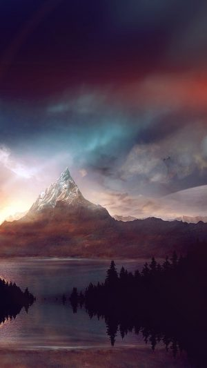 Mountain Nature Fantasy Art Illustration Flare iPhone 7 wallpaper