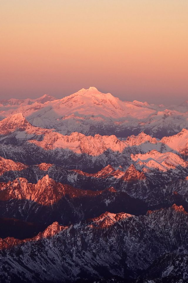 Mountain Snow In Sunset Shadow Nature iPhone wallpaper