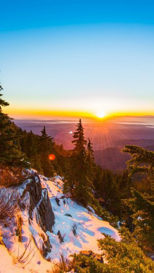 Mountain Snow Winter Sunset Wood Nature iPhone 7 wallpaper