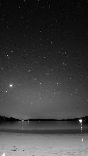 Night Beach Sea Vacation Nature Star Sky Dark Bw iPhone 7 wallpaper
