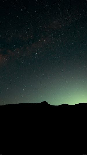 Night Sky Green Wide Mountain Star Shining Nature iPhone 7 wallpaper