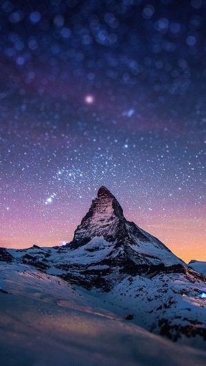 Night Stars Over Moutain Nature iPhone 7 wallpaper