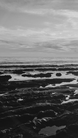 Ocean Sea Water Sky Sunset Afternoon Nature Dark Bw iPhone 7 wallpaper