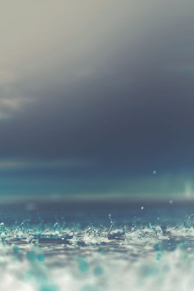 Rain Drop On Blue Afternoon Nature Iphone 7 Wallpaper