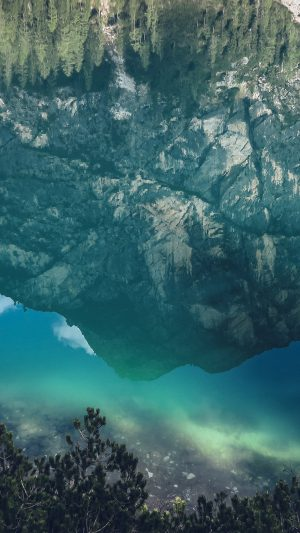 River Reflection Mountain Green Nature Wild Summer iPhone 7 wallpaper