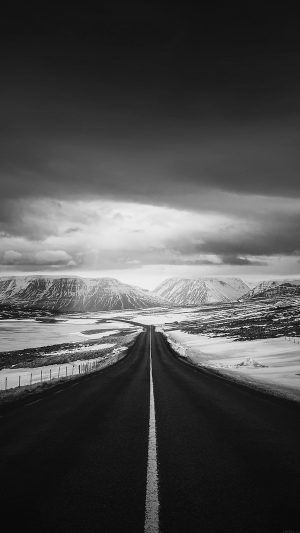 Road To Heaven Snow Mountain Bw Dark Nature Winter iPhone 7 wallpaper