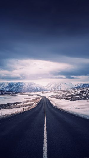 Road To Heaven Snow Mountain Nature Winter iPhone 7 wallpaper