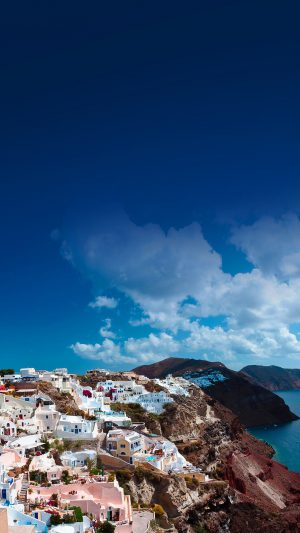 Santorini Sunny Day Greece Sea Nature iPhone 7 wallpaper