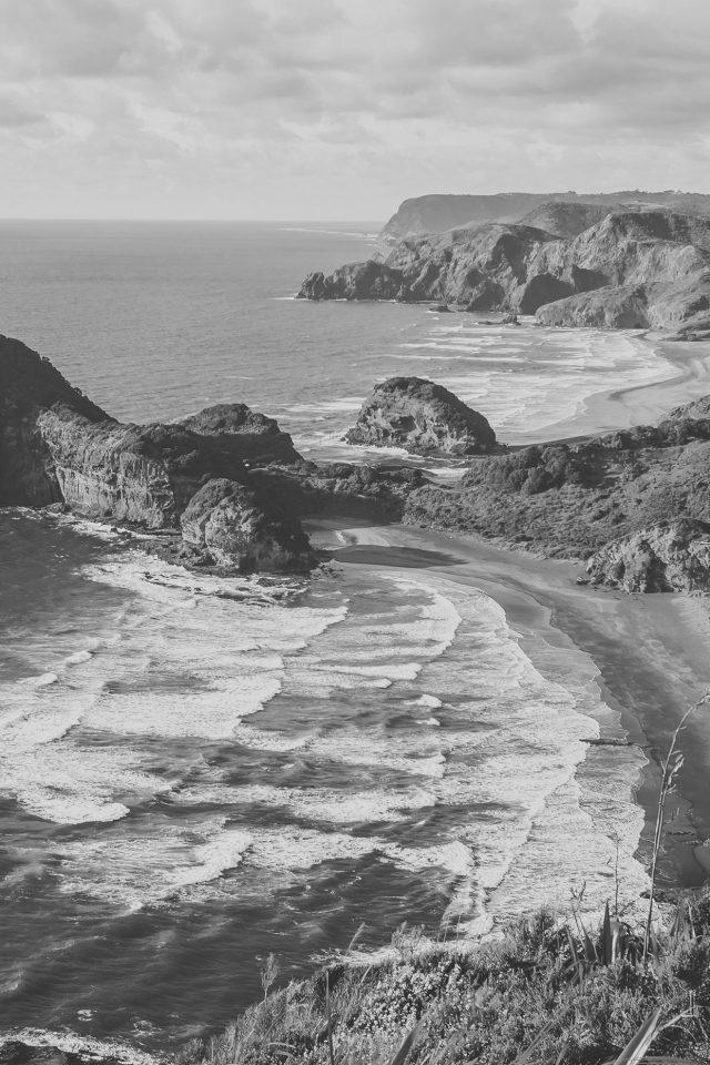 Sea Ocean View Water New Zealand Dark Bw Nature Iphone 7 Wallpaper Iphone7wallpapers Co