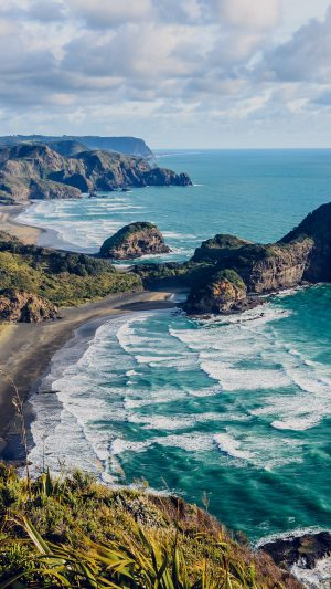 Sea Ocean View Water New Zealand Nature iPhone 7 wallpaper