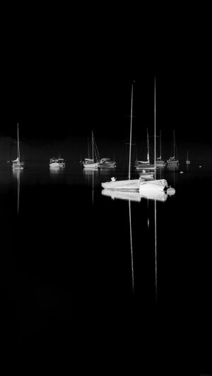 Sea Port Boats Bw Dark Nature Minimal iPhone 7 wallpaper