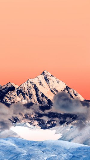 Snow Solo Orange Mountain High Nature iPhone 7 wallpaper
