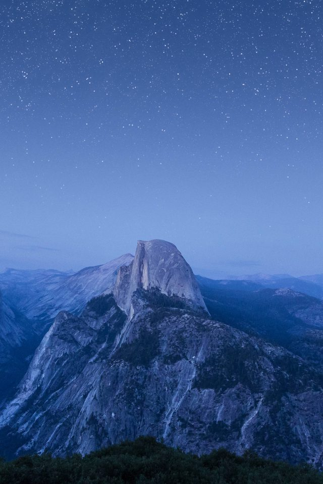Starry Night Blue Summer Mountain Nature Awesome iPhone wallpaper