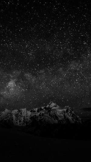 Starry Night Sky Mountain Nature Bw Dark iPhone 7 wallpaper