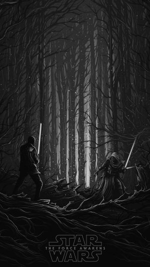 Starwars Illustration Bw Dark Art Film iPhone 7 wallpaper