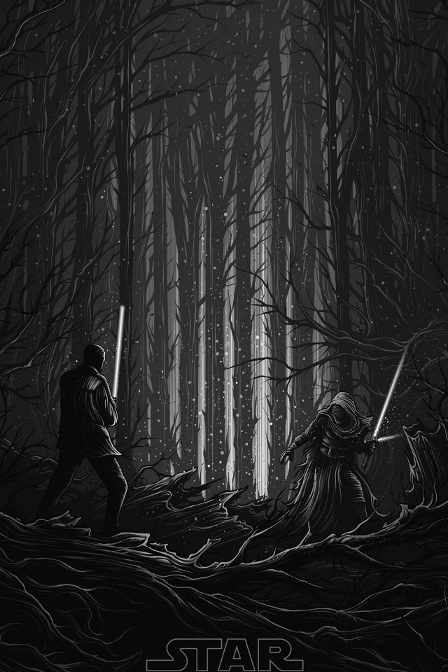 Starwars Illustration Bw Dark Art Film iPhone wallpaper