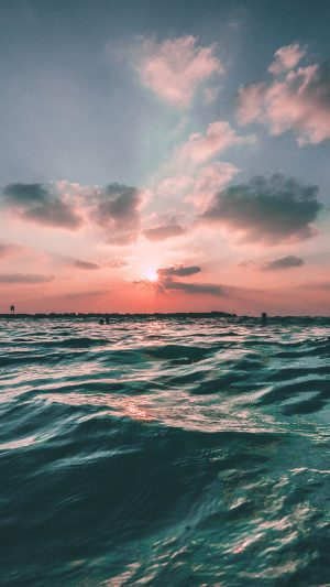 Sunset Sea Sky Ocean Summer Green Water Nature iPhone 7 wallpaper