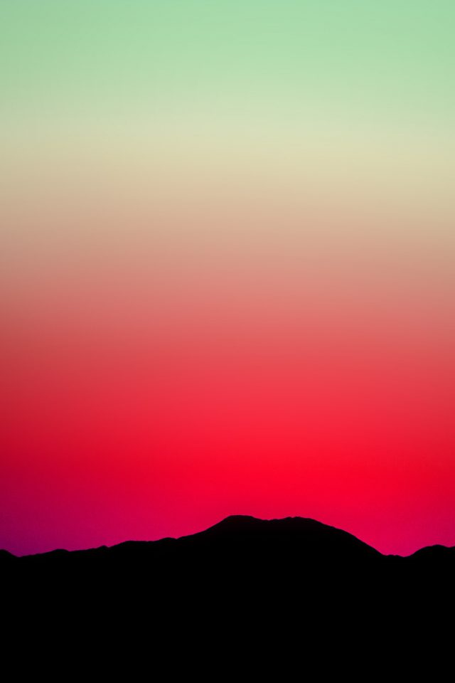 Sunset Sky Minimal Nature Red Green iPhone wallpaper