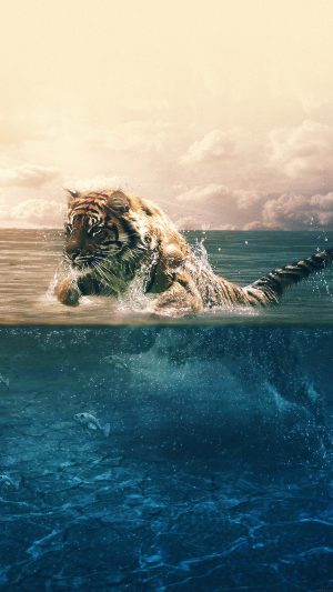 Tiger Running Blue Sea Nature iPhone 7 wallpaper