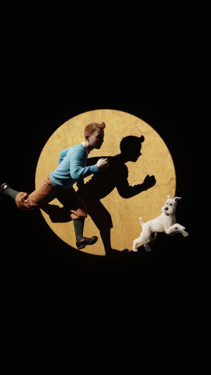 Tintin 3d Art Dark Illustration iPhone 7 wallpaper