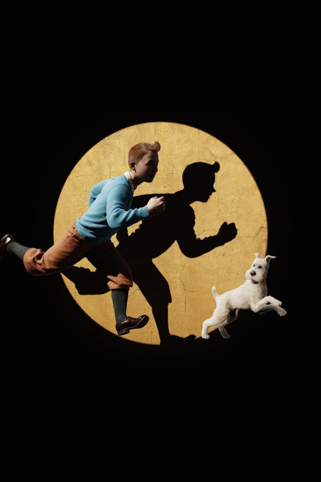 Tintin 3d Art Dark Illustration iPhone wallpaper